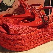 Jeffrey Campbell Cabo Red Espadrille Platform Wedge Size 7 Euc W/box Photo