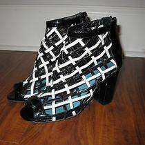 Jeffrey Campbell Cage Black White Patent Leather Shoes Chanel Booties Sz 7  Photo