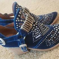 Jeffrey Campbell Calhoun Blue Cutout Western Bootie Us Size 8.5 Studded Photo