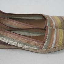 Jeffrey Campbell California Tan Color Stripe Woven Flat Low Wedge Size 8.5 Photo