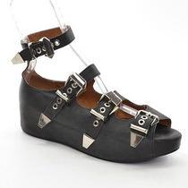 Jeffrey Campbell Castro Women 9 M Black Quarter-Buckle Flatform Sandals Shoes Photo