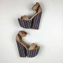 Jeffrey Campbell Chunky Platorm Sandals Nude Leather Ankle Strap Sparkly Wedge 6 Photo