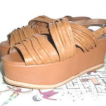 Jeffrey Campbell Clark Womens  Tan  Leather  Wedges Sandals Shoes 7.5 Bn Photo
