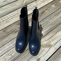 Jeffrey Campbell Clima Chelsea Navy Blue Shiny Rain Boot Size 9 Pre Owned Photo