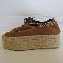 Jeffrey Campbell Cognac Suede Espadrille Wedge Shoes Women's Sz 9.5 Photo