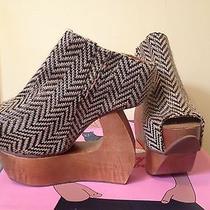 Jeffrey Campbell Convert Black Beige Platform Cutout Glide Wood Sandal 5 Photo