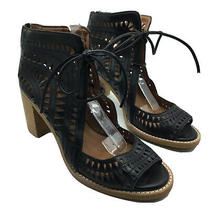Jeffrey Campbell Cordillo Ankle Tie Sandal Size 8.5 Black Leather Cutout Lace Up Photo