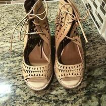 Jeffrey Campbell Cordillo Ankle Tie  Size 8 Tan Leather Cutout Lace Up Photo