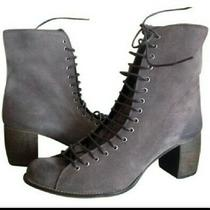 Jeffrey Campbell Cors Gray Suede Lace Up Bootie Sz 40 9 Ankle Granny Boots Photo