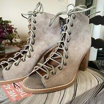 Jeffrey Campbell Cors Peep Toe Bootie Taupe Suede New Size 7.5 Gorgeous Photo