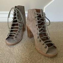 Jeffrey Campbell Cors Suede Lace Up Peep Toe Booties Size 7 Tan Photo