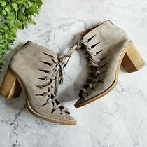 Jeffrey Campbell Corwin Gray Suede Cutout Peep Toe Lace Up Ankle Bootie 7 Photo
