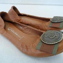 Jeffrey Campbell Crest Bow Women's 7.5 Camel Brown Leather Flats Photo