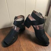 Jeffrey Campbell Criss-Cross Strappy Open-Toe Black Leather Sandal Size 9.5b Photo