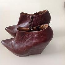 Jeffrey Campbell Croc Effect Brown Ankle Boot Rare Photo