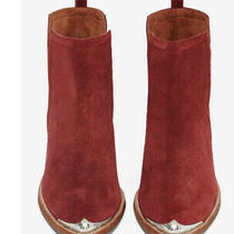 Jeffrey Campbell 'Cromwell' Cutout Western Booties Red Suede Leather Boot Sz 9.5 Photo