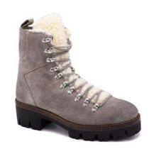 Jeffrey Campbell Culvert Taupe Sherpa Lace-Up Hiker Boots. Size 7.5 Photo