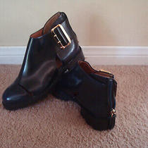 Jeffrey Campbell Cut Out Buckle Navy Blue Leather Women Ankle Shoes Boots Sz 7 Photo