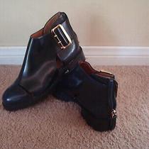 Jeffrey Campbell Cut Out Buckle Navy Blue Leather Women Ankle Shoes Boots Sz 7 Photo