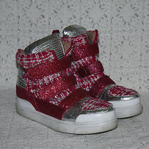 Jeffrey Campbell Cyber Pink Glitter Silver Metallic Wedge Sneakers Shoes Sz 9 Photo