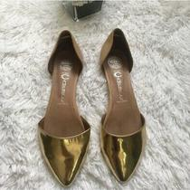 Jeffrey Campbell d'orsay Flats Womens Sz 7.5 in Love Pointed Toe Metallic Gold Photo