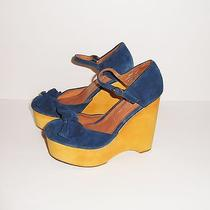 Jeffrey Campbell Daisy D Blue Suede Bow Ankle Strap Wood Wedge Heels Sandals 7 Photo