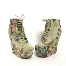 Jeffrey Campbell Damsel Floral Natural Platform Wedge Booties Women's Size 8.5 Photo
