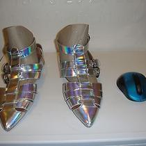 Jeffrey Campbell Deetz Hologram Metallic Silver Sandal Us 7.5 155 Photo