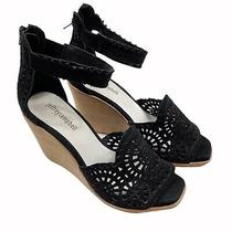 Jeffrey Campbell Del Sol Perforated Ankle Wrapped Wedge Sandals Black Size 8.5 Photo