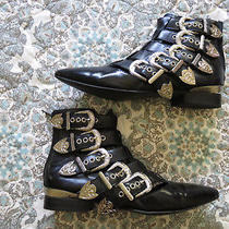 Jeffrey Campbell Depeche Black Box Silver Booties Size 7.5 Euc Photo