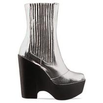 Jeffrey Campbell Detention Rocket Man Metallic Silver Platform Wedge Booties  Photo