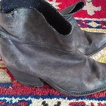 Jeffrey Campbell Distressed Black Leather Slouchy Ankle Western Boots Sz 9 M Photo