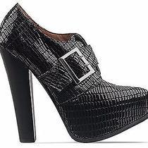 Jeffrey Campbell Drexel Platform Heels Booties Leather Black Lizard Patent Sz 7 Photo