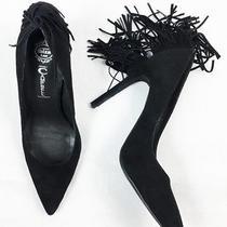 Jeffrey Campbell Dulcie Black Suede Fringe Pumps Heels Size 7.5 Photo