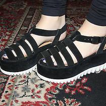 Jeffrey Campbell Duxbox Blk/multi Wedge/sandal Size 10 Photo
