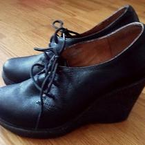 Jeffrey Campbell Earnest Black Wedge Heel Lace Up Leather Shoes Booties 8.5 Photo