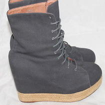 Jeffrey Campbell Ease-Up Wedge Heel Booties Shoes Lace-Up Women's Sz 10 Euc 140 Photo