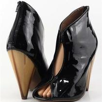 Jeffrey Campbell Easton Black Patent Leather Designer Open Toe Ankle Boots 8 Photo