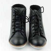 Jeffrey Campbell Edea Leather Sneaker Spide Spike Stud Black 9 Wedge Photo