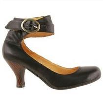 Jeffrey Campbell Edson2 10 M Black Leather Ankle Strap Pump Medium Heels Shoes Photo