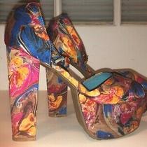 Jeffrey Campbell El Carmen High Heel Floral Wedge Sandals - Size - 6 Photo