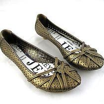 Jeffrey Campbell Elle Womens Ladies Loafers Flats Kitten Heels 6.5m Gold Brown Photo