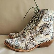 Jeffrey Campbell Elmcroft Grove Blue Paisley Lace Up Velvet Boots Sz 8.5 Photo