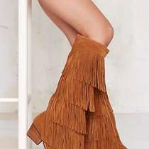 Jeffrey Campbell Esconder Fringe Suede Boots Size 6.5 Tan Suede New in Box  Photo