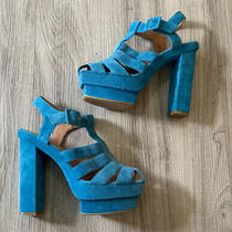 Jeffrey Campbell Eva B Platform Sandals Blue Suede Size 8 Photo