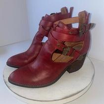 Jeffrey Campbell Everwell Edgy Ankle Boot Red Buckle Cut Out Women's Size 9  Photo