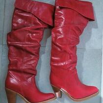 Jeffrey Campbell Fame Over the Knee Red Leather Boots (Nwot) - Sz 8 or 7.5 Photo