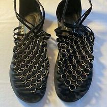 Jeffrey Campbell Flats Gold Rings Black Leather Sandals Sz 8.5 Zipper Back Photo