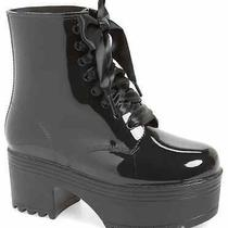 Jeffrey Campbell Fog Waterproof Boot Lace Up Chunky Platform Ankle Rain Boot Photo