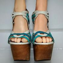 Jeffrey Campbell Follie Teal Leather Wood Sandals Wedges Size 9.5  Photo